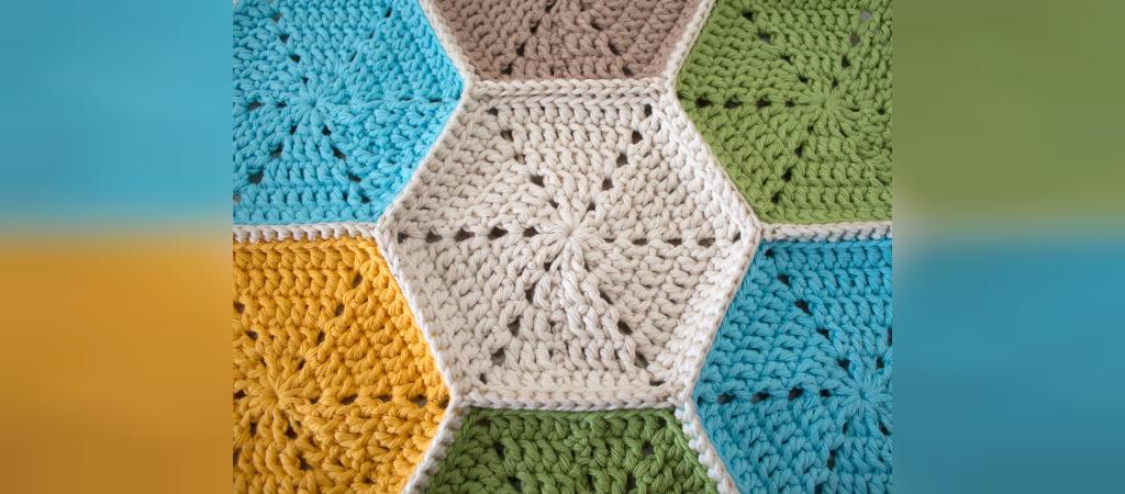 آموزش بافت رومیزی شش ضلعی زیبا با قلاب بافی