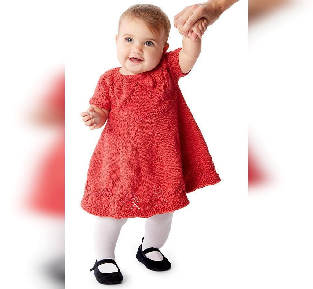 مدل های بافتنی پیراهن بلند نوزادی دخترانه جدید
