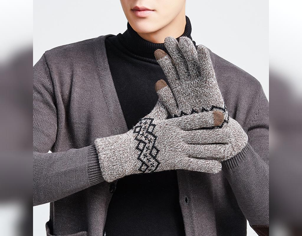 مدل دستکش بافتنی مردانه جدید طرح دار