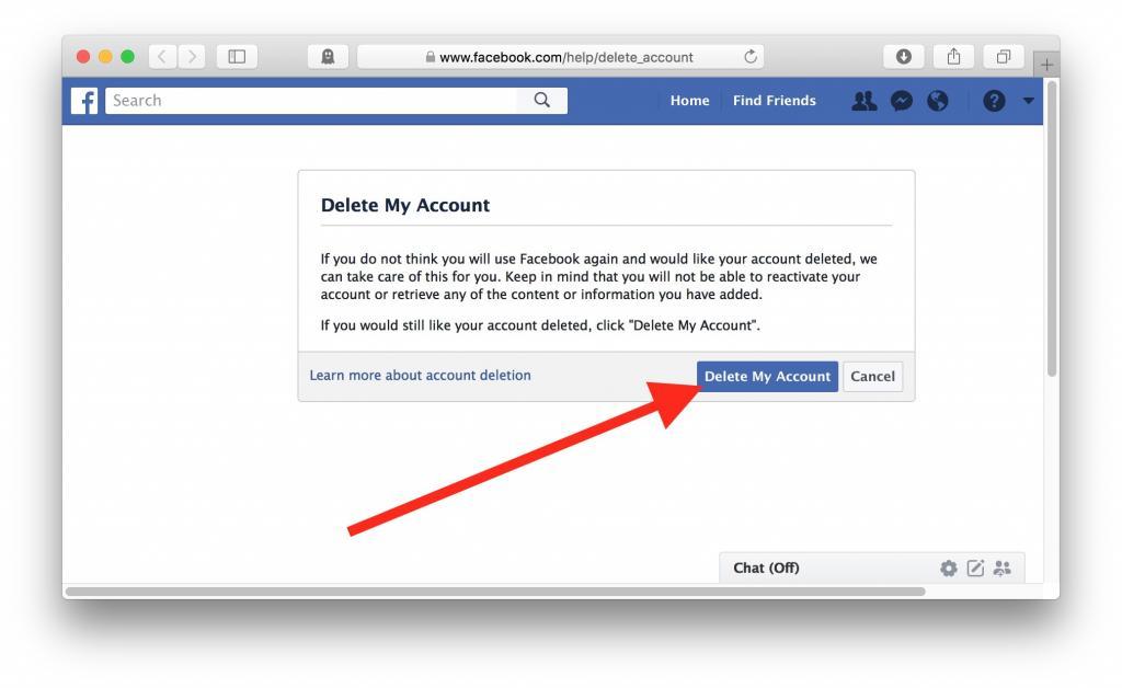 روش  حذف دائمی اکانت فیسبوک