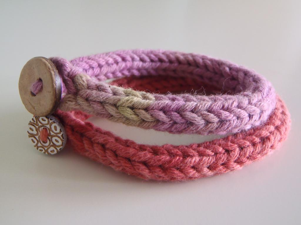 دستبند بافت دخترانه جدید با دکمه