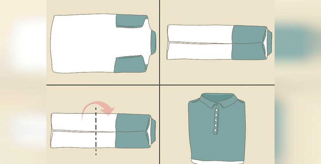 آموزش تا کردن پیراهن های یقه دار برای فضای کم