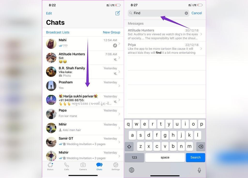 چگونه در واتساپ گوشی های آیفون یک پیام خاص را پیدا کنیم