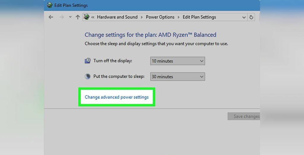 برای حل مشکل شارژ نشدن باتری لپ تاپ، روی Change advanced power settings کلیک کنید
