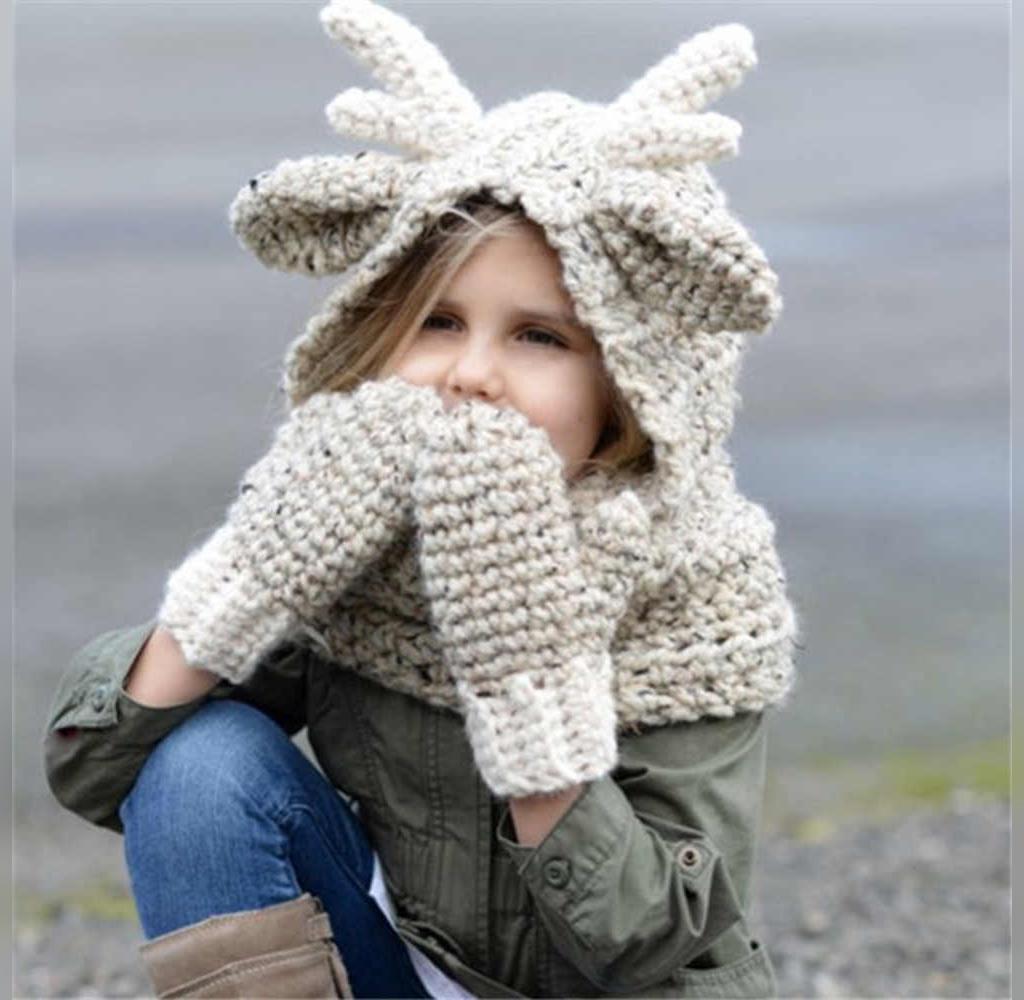 مدل دستکش بافتنی بچه گانه دخترانه ست کلاه