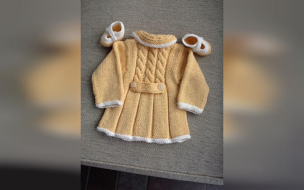 لباس بافتنی نوزاد با پاپوش