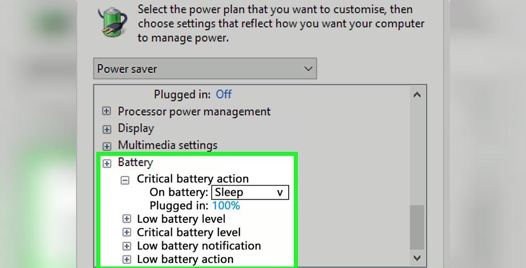 برای حل مشکل شارژ نشدن باتری لپ تاپ، مقادیر بخش