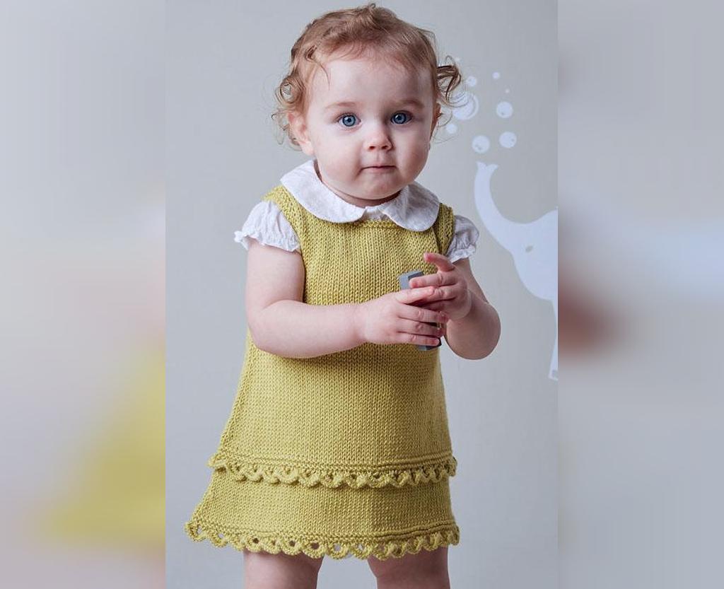 مدل ژورنالی سارافون بافتنی دختر بچگانه