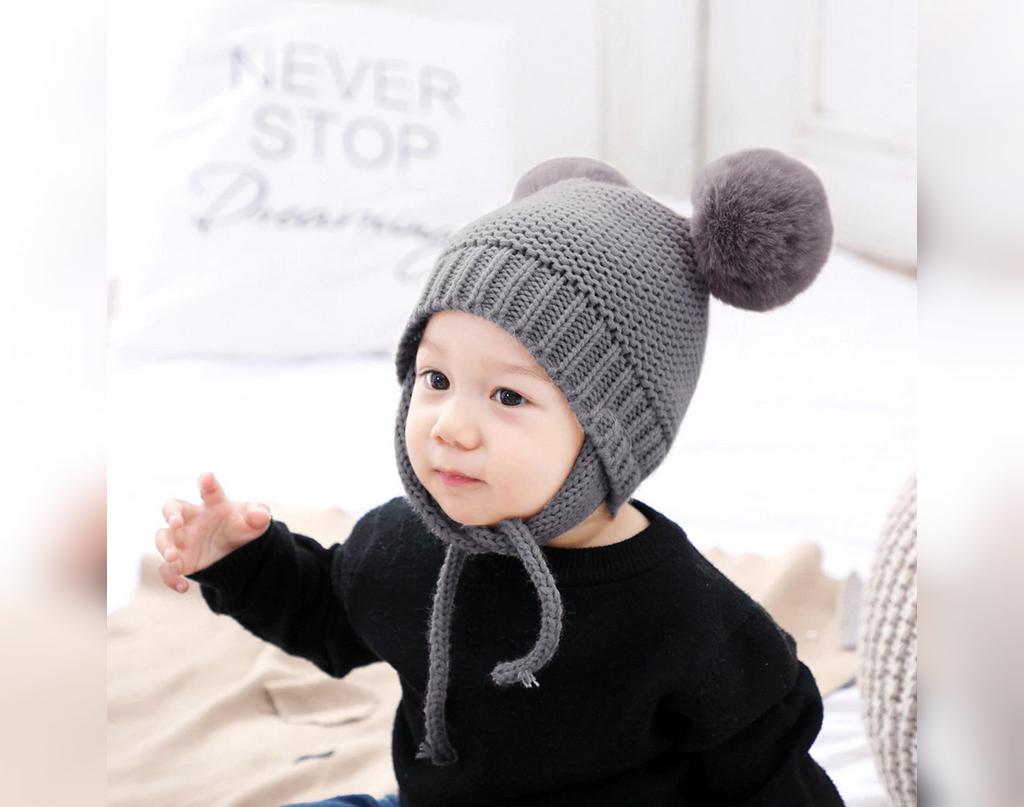 مدل ژورنال کلاه بافتنی نوزادی منگوله دار