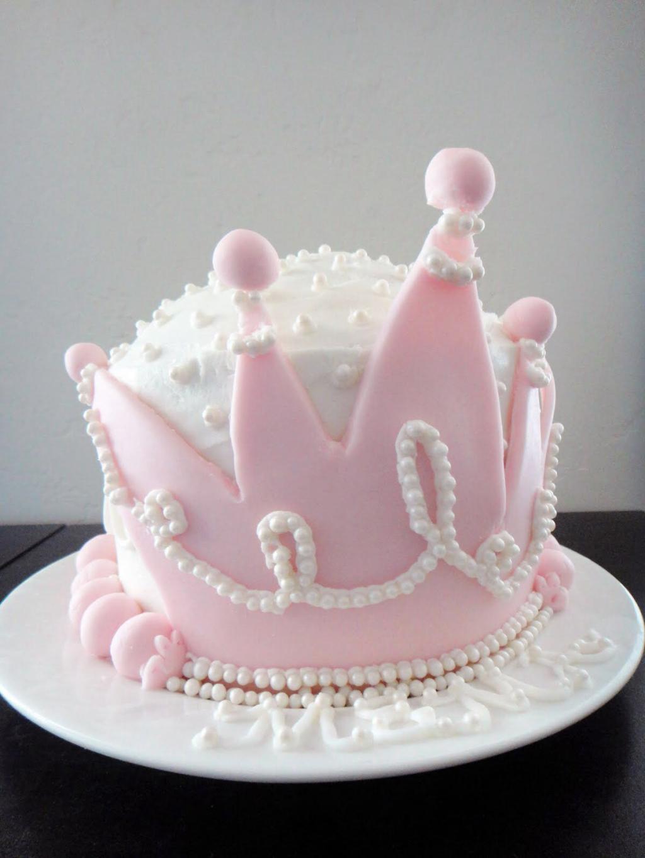 مدل جدید کیک تاج صورتی دختر بچه