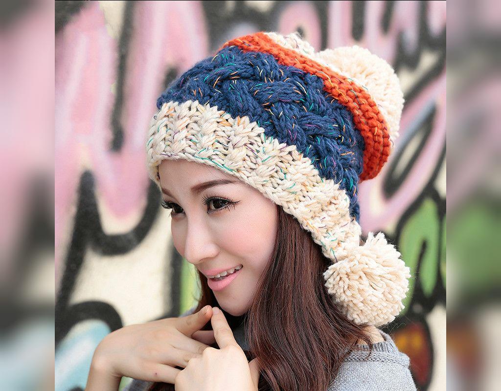 مدل کلاه بافتنی زنانه اسپرت رنگارنگ