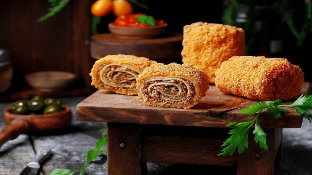 طرز تهیه لازانیا رولی لقمه ای سوخاری خوشمزه با گوشت بدون فر