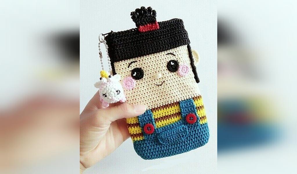 کیف بافتنی عروسکی با طرح دختر