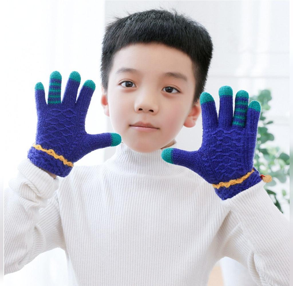 دستکش بافتنی پسرانه 5 انگشتی