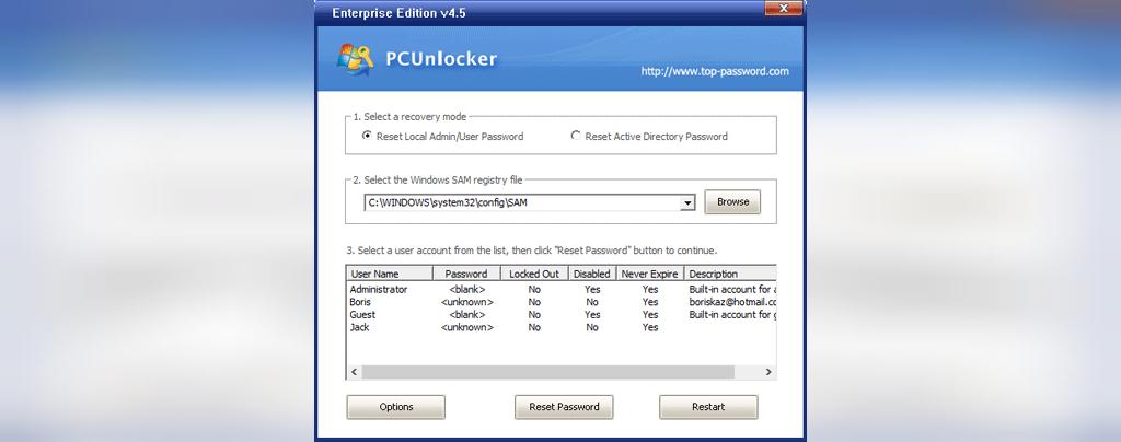 ریست رمز عبور ویندوز 7 با PCUnlocker