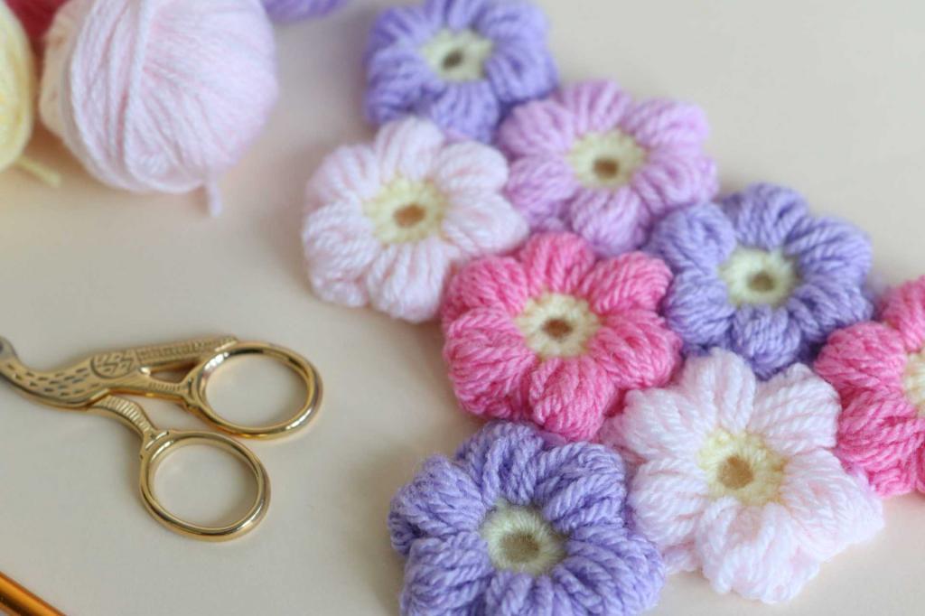 مدل گل فندوقی بافتنی برای لباس