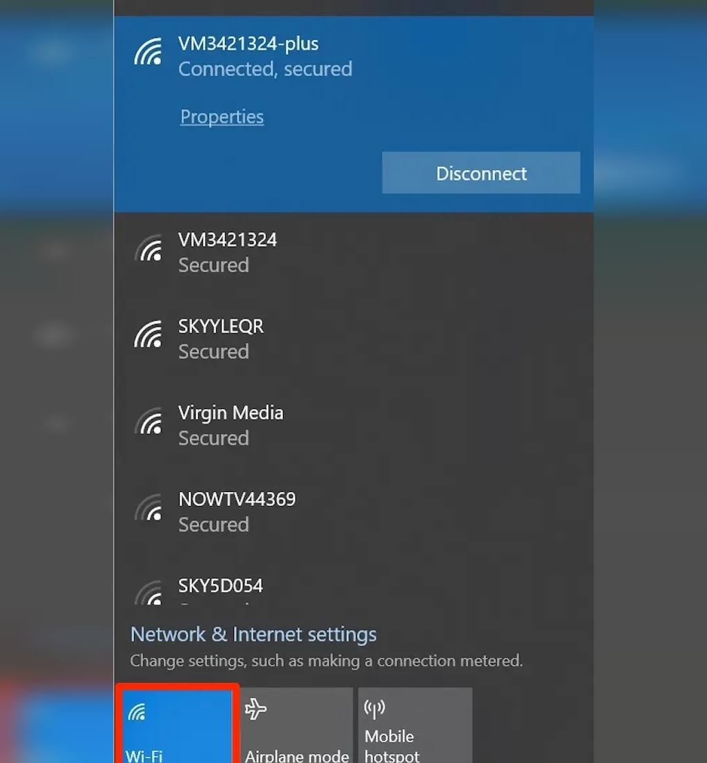 روشن کردن وای فای از طریق آیکون Wi-Fi