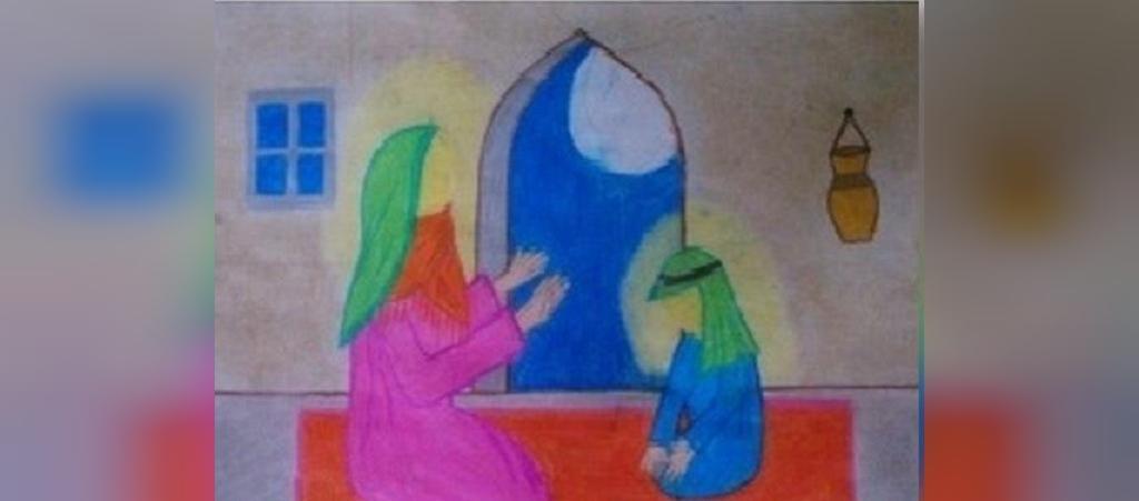 نقاشی کودکانه درباره حضرت فاطمه زهرا سلام الله علیها