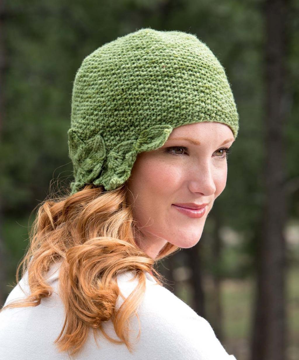 مدل کلاه بافتنی روگوشی زنانه طرح برگ