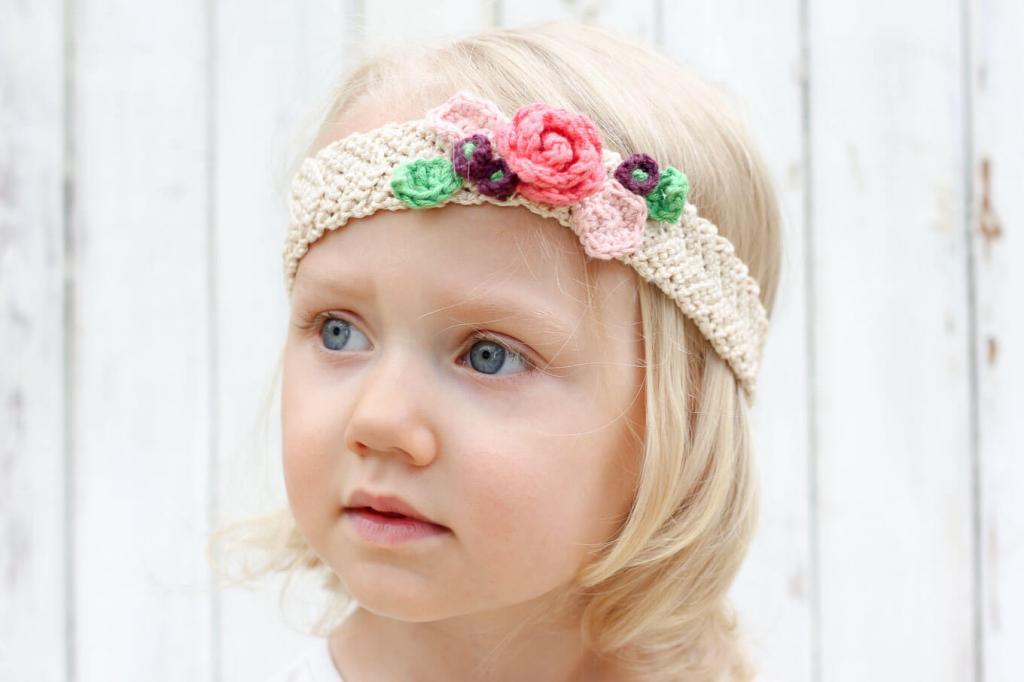 عکس مدل هدبند بافتنی نوزاد دختر