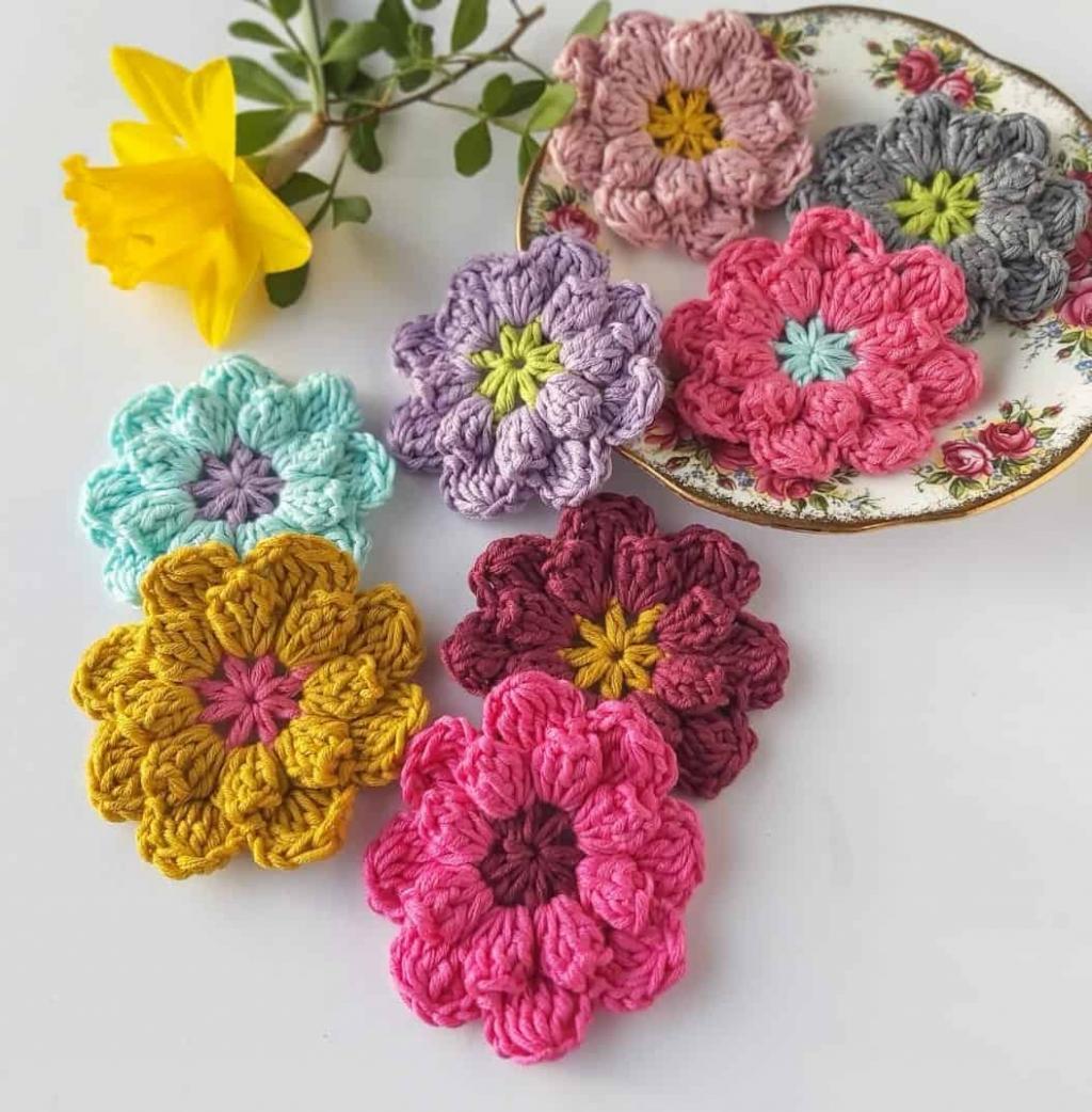 مدل گل بافتنی با میل و کاموا