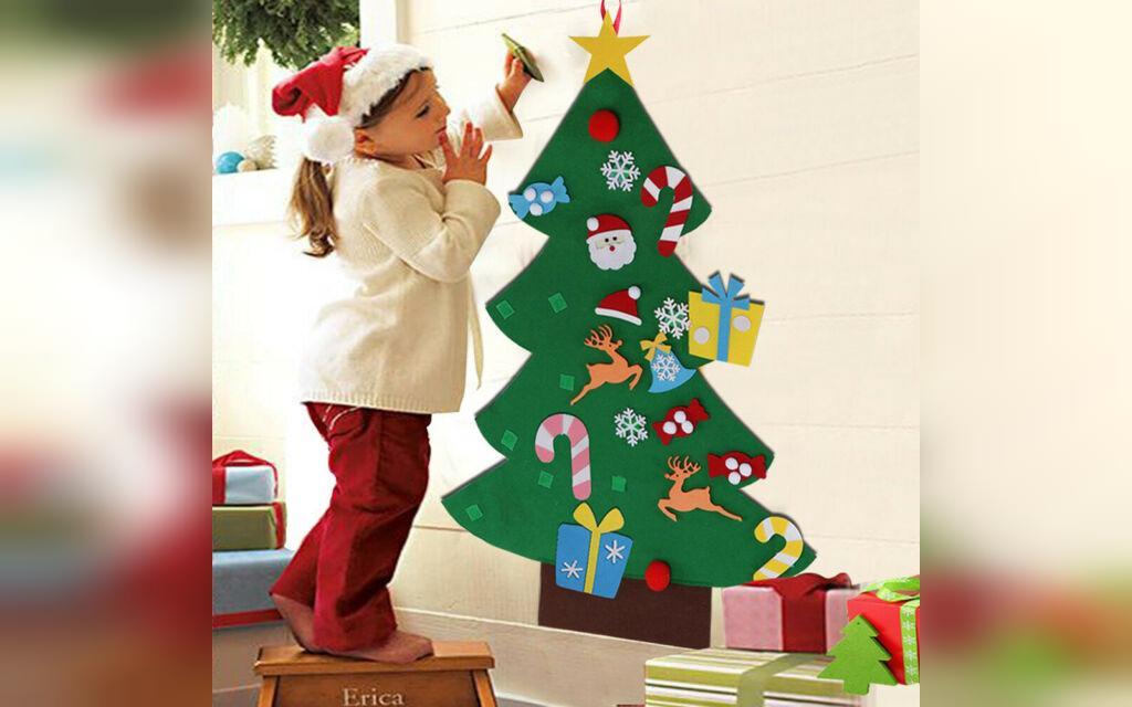 تزیین درخت کریسمس شیک با مقوا و نمد برای بچه ها