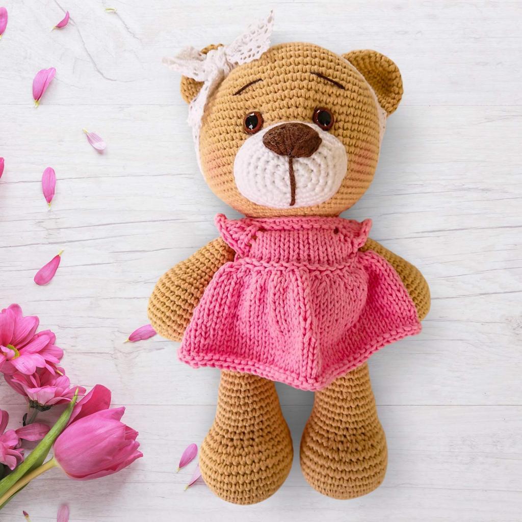 مدل عروسک بافتنی خرس صورتی شیک
