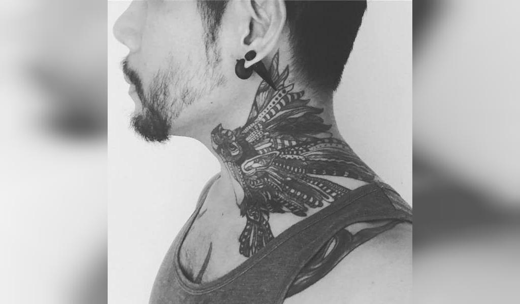 طرح خالکوبی گردن مردانه  سرخپوستی