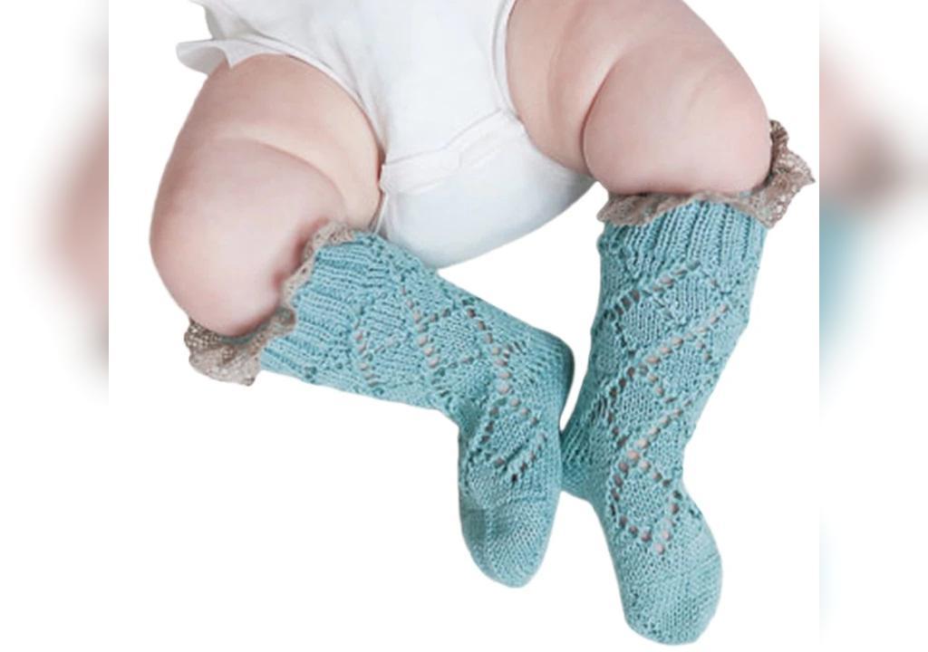 جوراب بافتنی نوزاد پسر ساق بلند