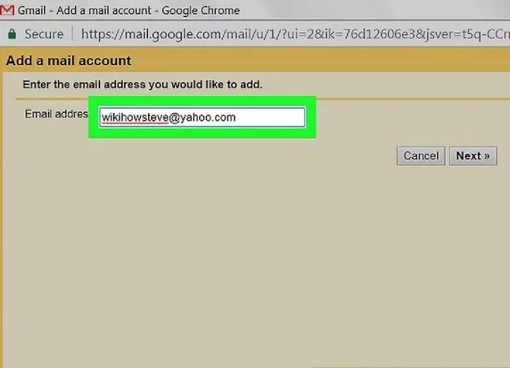 وارد کردن آدرس ایمیل یاهو در جیمیل