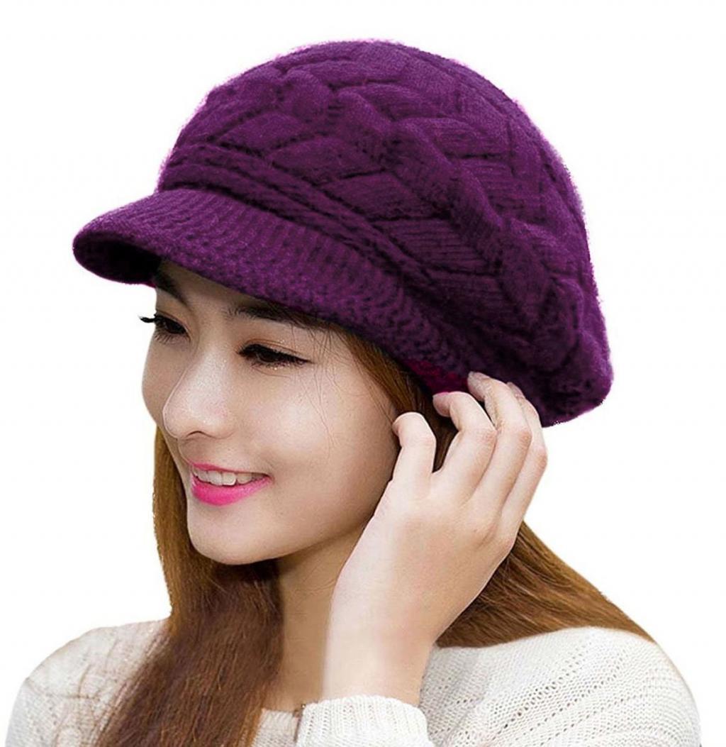 مدل کلاه بافتنی لبه دار زنانه ساده
