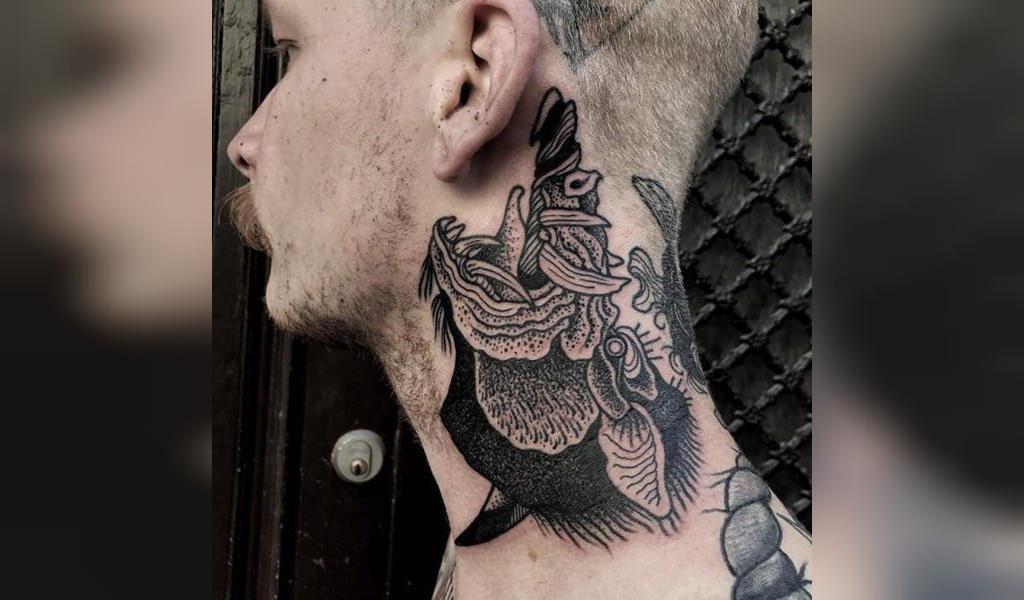 طرح تاتو گردن مردانه اژدها