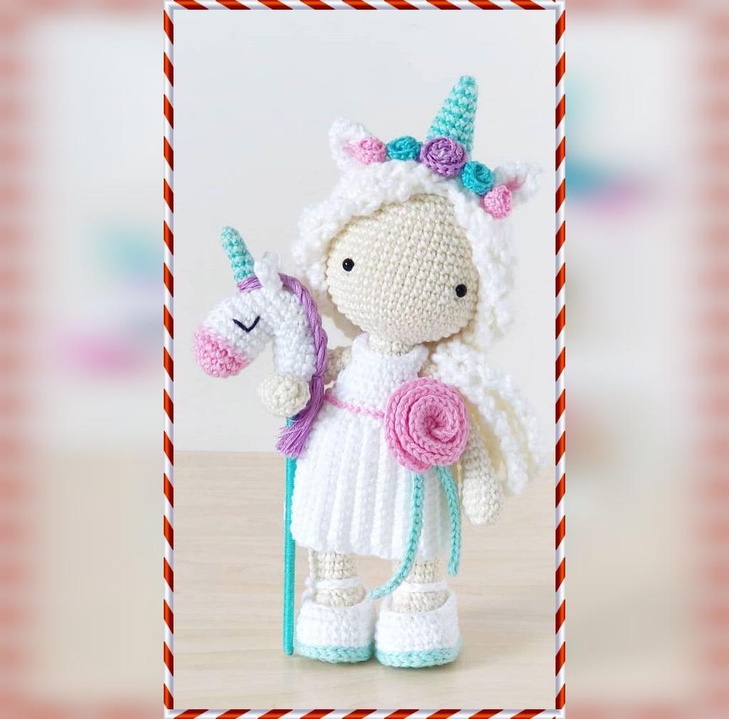 عکس عروسک بافتنی طرح اسب تک شاخ زیبا