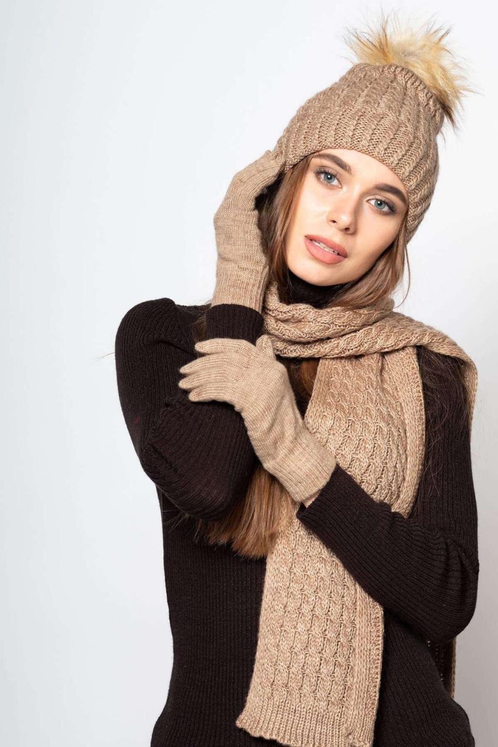 مدل شال و کلاه بافتنی زنانه اسپرت جدید