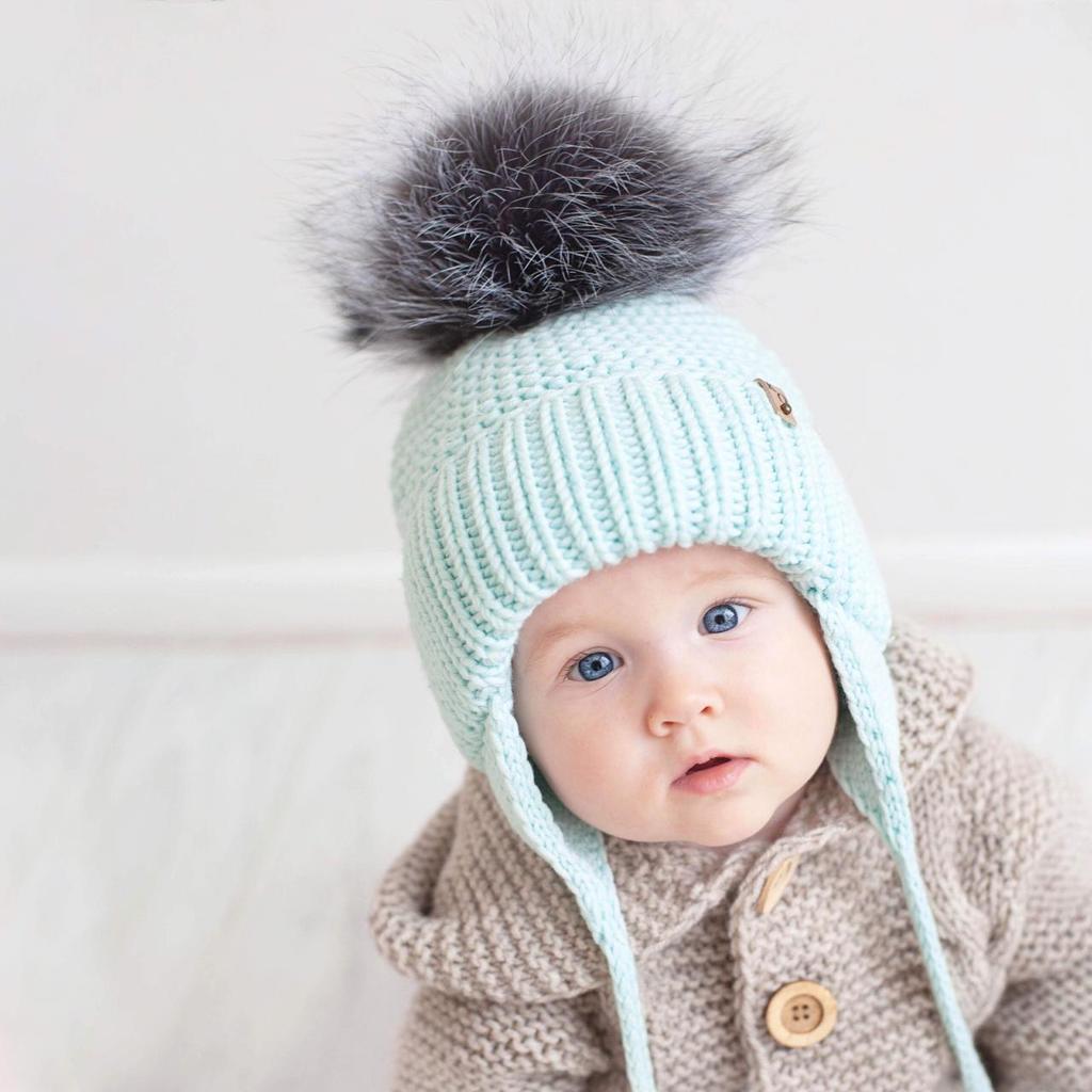 مدل کلاه کودکانه بافتنی بند دار
