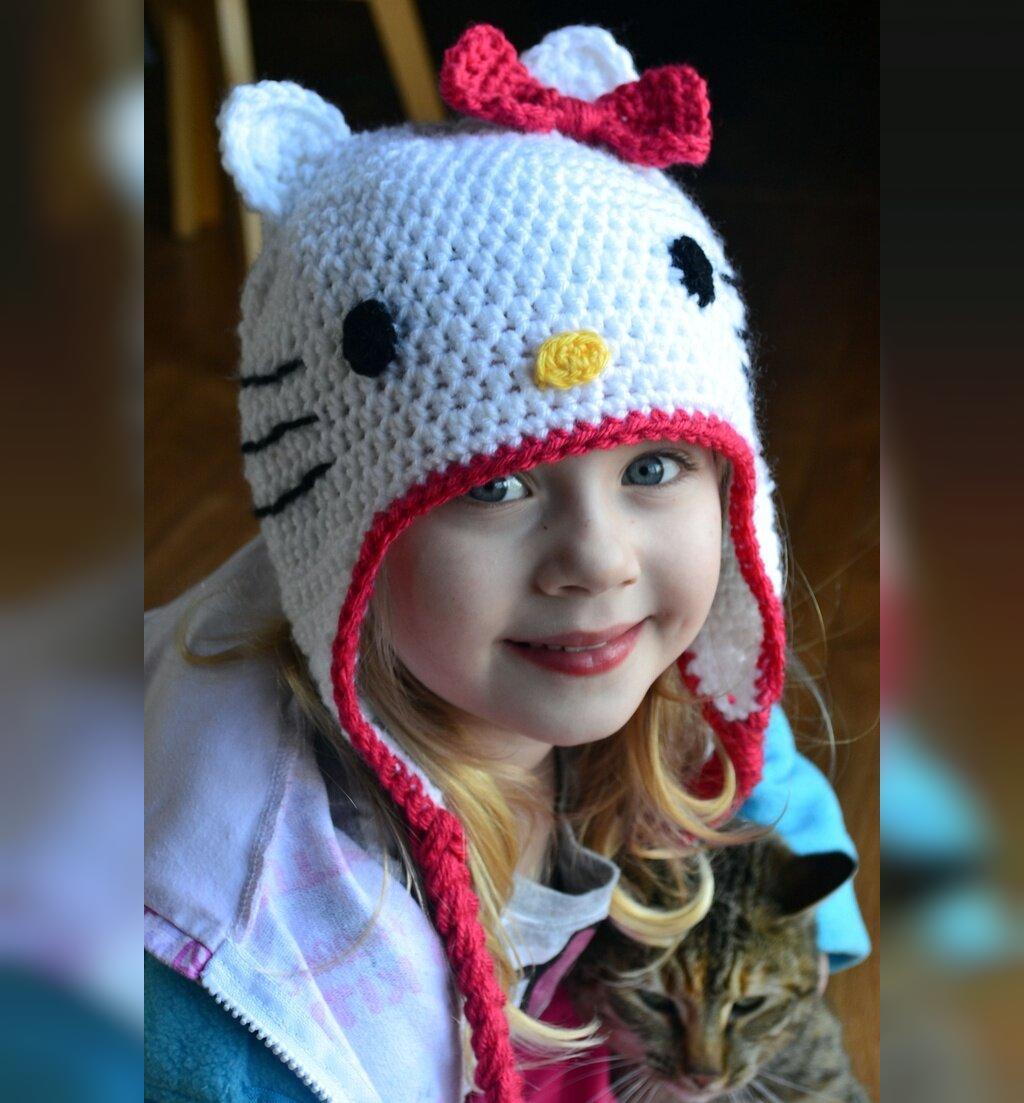 مدل کلاه بافتنی گوش دار بچگانه دخترانه