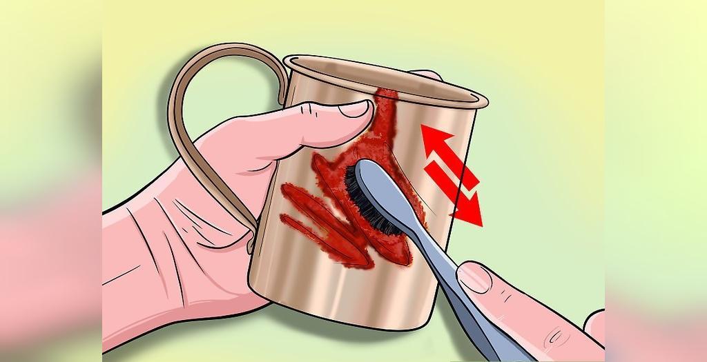 از بین بردن لکه های و تیرگی های ظروف مسی با کچاپ