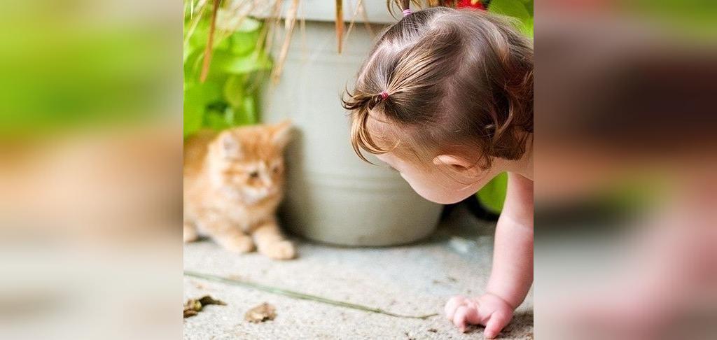 ژست عکس بچه با حیوانات خانگی