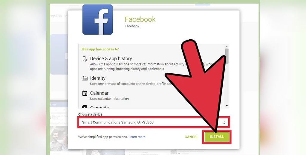 روش نصب برنامه فیسبوک از اینترنت