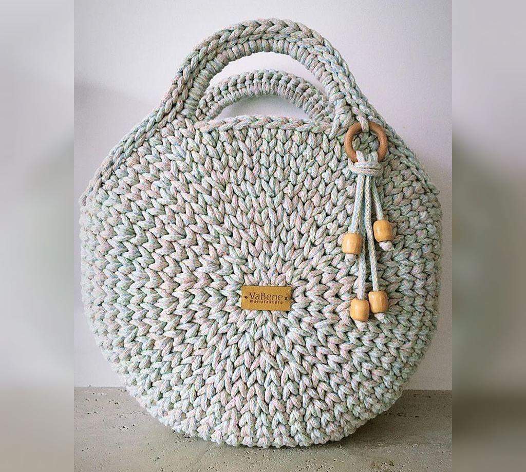 کیف بافتنی گرد ساده