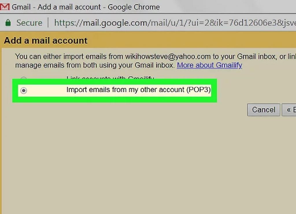 انتخاب گزینه انتقال ایمیل از حساب دیگر من (ِیک پروتکل است POP3 )