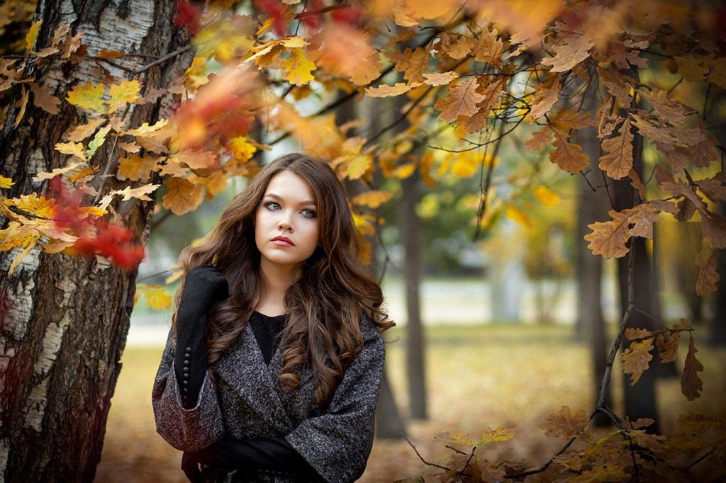 ژست عکس پاییزی دخترانه شیک