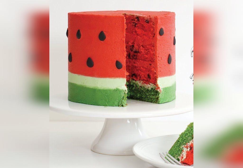 ایده تزیین کیک فانتزی طرح هندوانه شب یلدا
