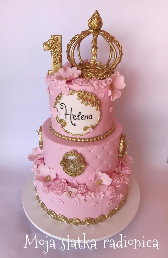 کیک تولد دخترانه تاجدار طلایی صورتی
