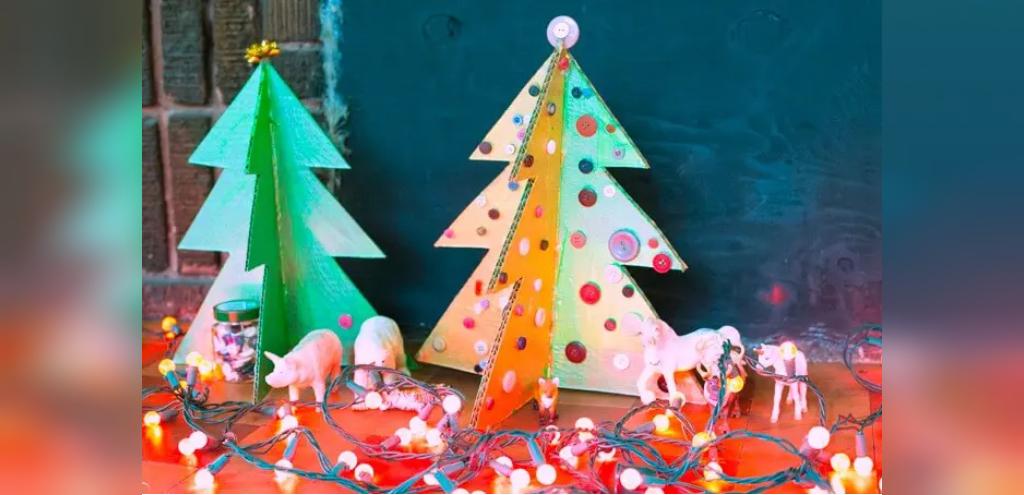آموزش ساخت درخت کریسمس سه بعدی با مقوا