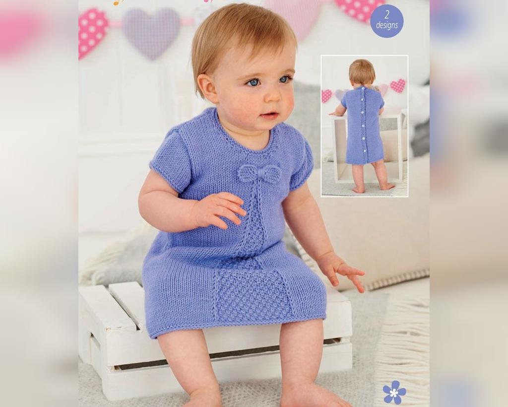 مدل های بافتنی پیراهن بلند نوزادی دخترانه