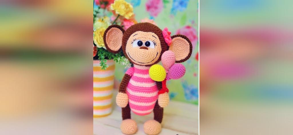 عکس عروسک بافتنی طرح میمون زیبا