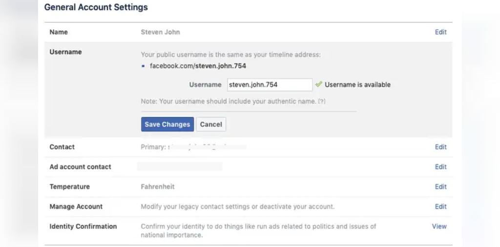 ذخیره تغییرات نام کاربری فیس بوک از قسمت پروفایل