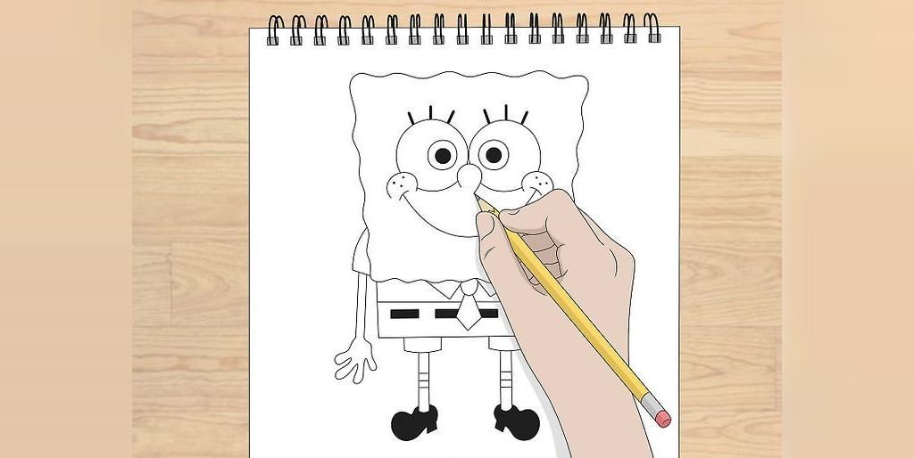 مراحل کشیدن نقاشی باب اسفنجی