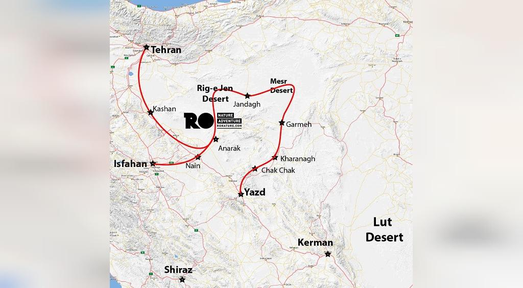 نقشه منطقه کویر ریگ جن